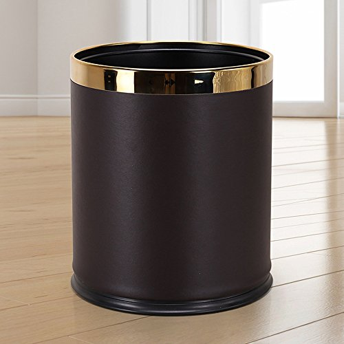 Leather Covered Rim - Luxury Metal Waste Bin with Leather Cover,Open Top Office Wastebasket,Double Layer Trash Can,Round Shaped (Coffee w/Gold Ring)