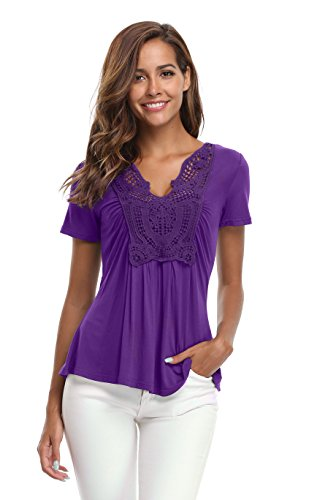 MISS MOLY Summer Tops for Women Ruched Front Deep V Neck Tie Short Sleeves Dance Peplum Tops Slimming T Shirts Cute Blouse (Purple, XS/US 2)