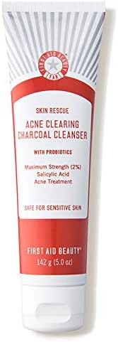 First Aid Beauty Skin Rescue Acne Clearing Charcoal Cleanser with Probiotics, 5 Ounces