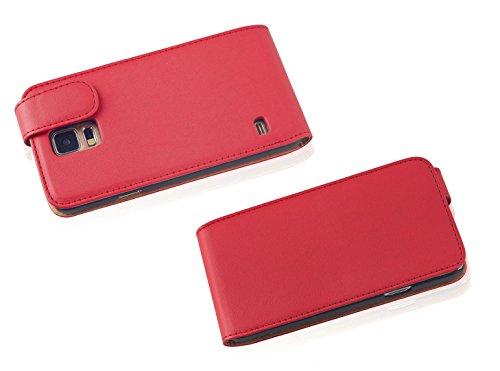 Cadorabo - Funda Flip Style para Samsung Galaxy S5 (GT-I5500) de Cuero Sintético Liso - Etui Case Cover Carcasa Caja Protección en ORQUÍDEA-VIOLETA ROJO-DE-CHILE