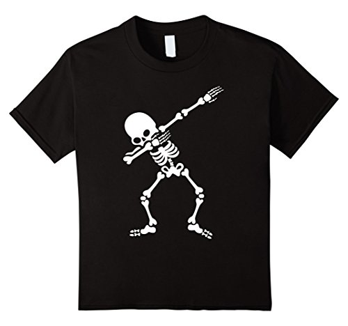 Kids Dabbing Skeleton Halloween Funny Dab Hip Hop T Shirt 12 Black (Hip Hop Cat Costume)