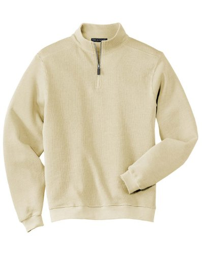 Port Authority Mens Perfect Flatback Rib 1 4 Zip Pullover Ivory Large