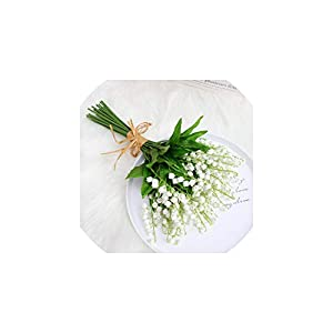 V-K-YA 11PCS Artificial Flower Lily Real Touch Wind Chime Orchid Home Wedding Garden Decoration,White 18