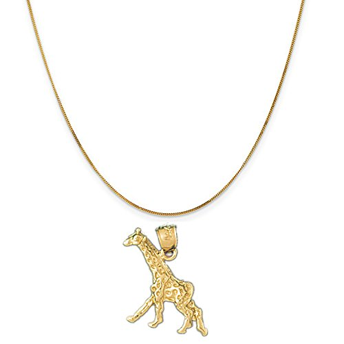 14k Yellow Gold Giraffe Pendant on a 14K Yellow Gold Curb Chain Necklace, 16'' by Eaton Creek Collection