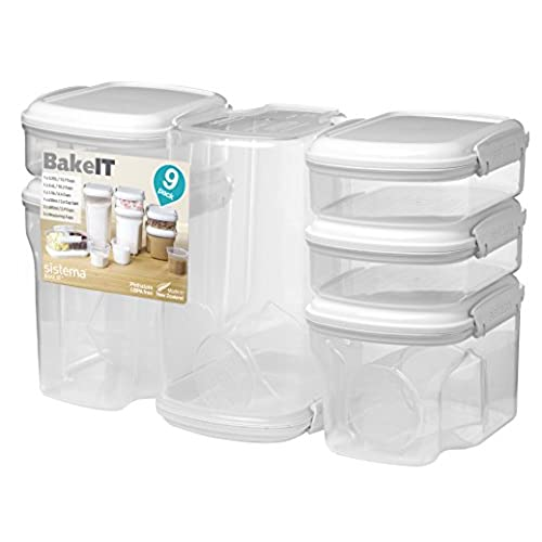 Sistema 1213 Bake It Food Storage for Baking Ingredients Multi Piece Containers Clear Set of 9  sc 1 st  Amazon.com & Bulk Food Storage Containers: Amazon.com