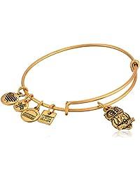 Alex and Ani Women's Charity by Design, Owl II Charm Bangle Bracelet, Rafaelian Gold, Expandable