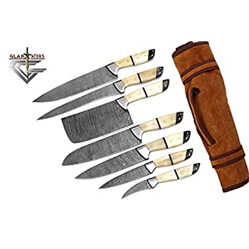 Image of Home and Kitchen G26- Professional Kitchen Knives Custom Made Damascus Steel 7 pcs of Professional Utility Chef Kitchen Knife Set with Chopper/Cleaver White & Black GladiatorsGuild