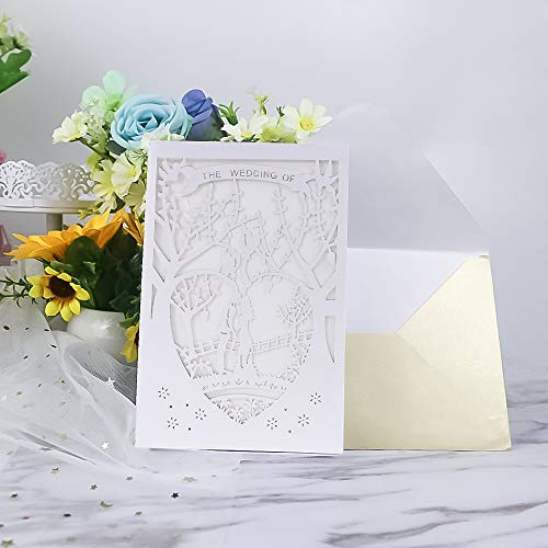 (Laser Cut Printable Wedding Invitation Kits - 25pcs 4.7'' x 7''White Love Tree Wedding Invitations Cards with Printable Paper and Envelopes for Engagement Marriage Bridal Shower Anniversary)