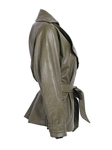 Femmes Faux De Extérieur Simplee Manche Revers Imperméable Liberté Plutonium La Occasionnels Figure Vert Veste Cuir Tenue 8wwEpt