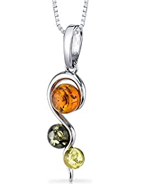 Three Stone Baltic Amber Spiral Pendant Necklace Sterling Silver Green Honey Cognac Colors