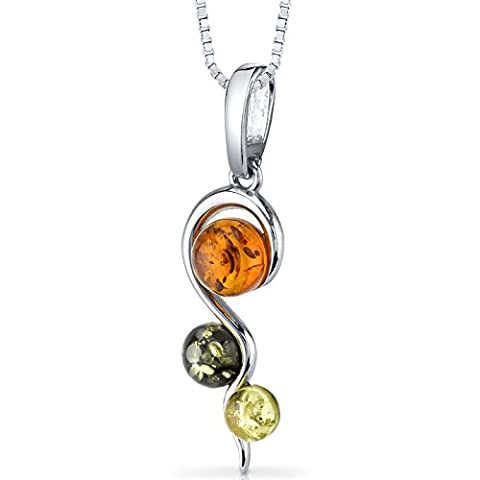 Three Stone Baltic Amber Spiral Pendant Necklace Sterling Silver Green Honey Cognac Colors (Amber And Silver Necklace)