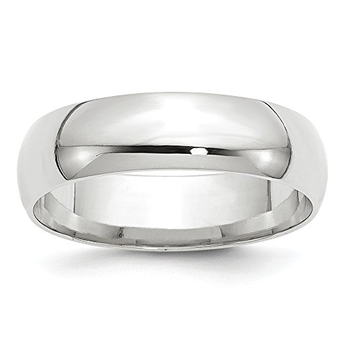 Solid 14k White Gold 6mm Comfort Fit Wedding Band Size 13.5 ()