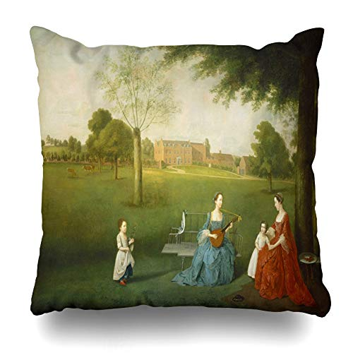 - Ahawoso Throw Pillow Cover Devis Members Maynard Family Park Waltons by in Scenery at Arthur 62 English Painting Oil Design Sky Decorative Pillowcase Square Size 18
