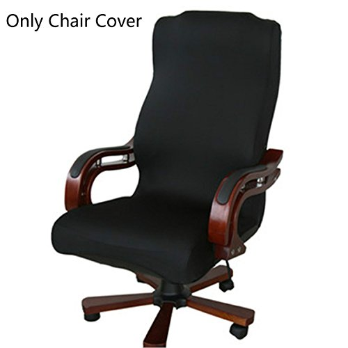 Caveen Office Chair Cover Computer Chair Universal Boss Chair Cover Modern Simplism Style High Back Large Size (Chair not included) black large (Large Chair Slipcovers)