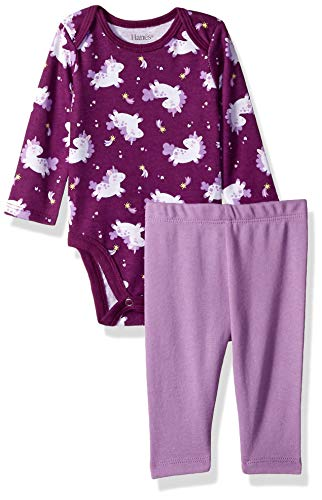 Hanes Ultimate Baby Flexy 2 Piece Set (Pant with Long Sleeve Bodysuit), Purple Unicorn 12-18 Months
