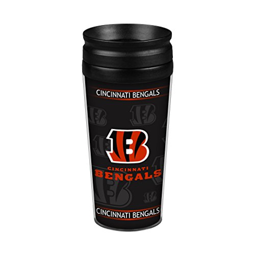 NFL Cincinnati Bengals Full Wrap Travel Tumbler, 14-Ounce, Black/Orange