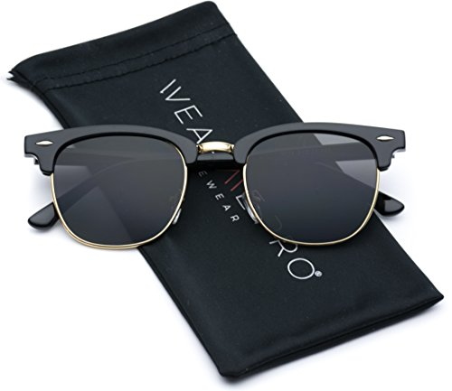 [Retro Classic Metal Half Frame Horn Rimmed Sunglasses (Thin Black Frame / Gold Rimmed, 50)] (Thin Frame Sunglasses)