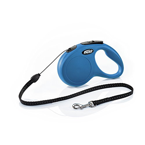 Flexi New Classic Retractable Dog Leash (Cord), 16 ft, Small, Blue (Dog Leash 16 Feet)