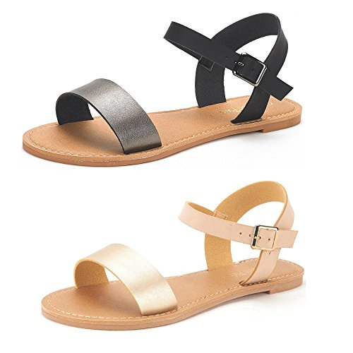 (DREAM PAIRS Women's Hoboo-New Cute Open Toes One Band Ankle Strap Flexible Summer Flat Sandals 2 Pairs Black Pewter and Gold Nude Size 7)