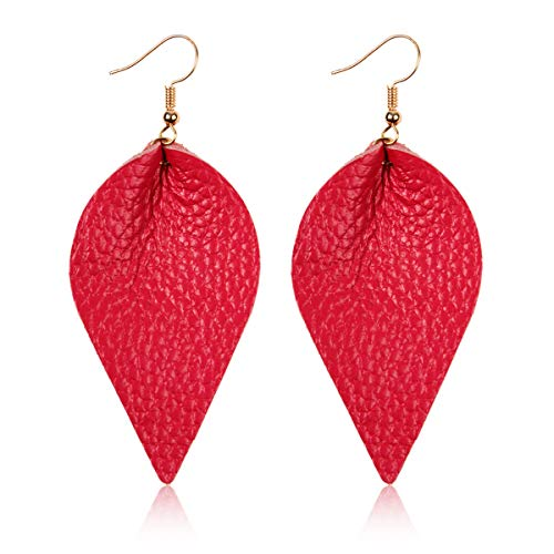 Bohemian Lightweight Genuine Real Leather Geometric Drop Statement Earrings - Petal Leaf, Triple Feather, Teardrop Dangles, Scallop Disc Hoop (Leaf - Hot Pink)