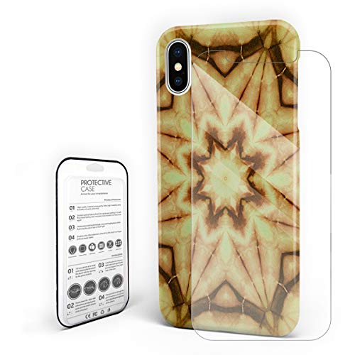 Compatible with iPhone X Case, Hard PC Back Phone Case with Tempered Glass Screen Protector Old Flower Pattern Kaleidoscope Shockproof -