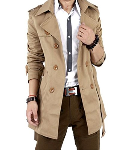 GESELLIE Men's Slim Double Breasted Trench Coat Belted Long Jacket Overcoat Outwear ()