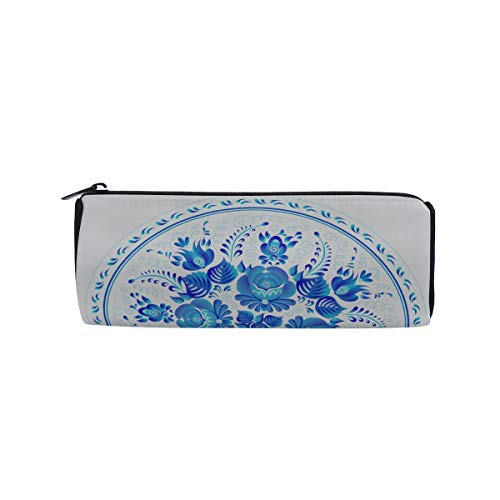 Chinese Porcelain Painting Style Porcelain Plate Students Super Large Capacity Barrel Pencil Case Pen Bag Cotton Pouch Holder Makeup Cosmetic Bag for Kids