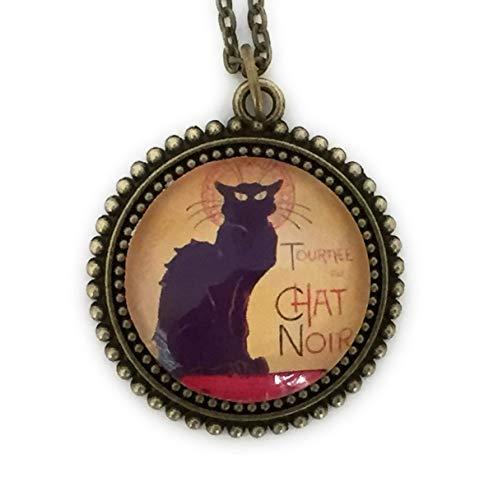Chat Noir Necklace - Black Cat Pendant - Handmade
