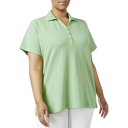 Karen Scott Womens Plus Pique Short Sleeves Polo Top Green - Polo Top Womens