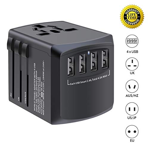 International travel adapter, MINGTONG 4 USB worldwide universal travel power plug adapter, All in One European Power Adapter Electrical Adapter for Travel - Type C Type A Type G for UK Japan China EU (Best Time To Travel To El Salvador)