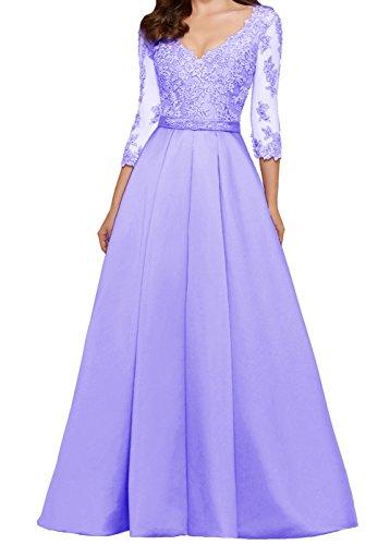 Ärmeln Lavendel A Ballkleid Hochzeitsgäste Damen Lang 4 Abendkleider for Spitze 3 LuckyShe mit linie qwOCC7