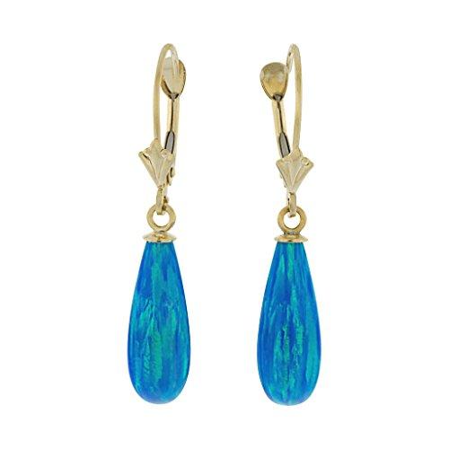 1000Strass Femmes de Océans: 16mm opale Boucles d'oreilles Goutte avec 14K