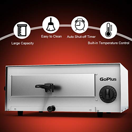 Goplus Stainless Steel Pizza Oven Electric Pizza Maker Pizza Baker with Snack Pan, Snack Maker, Counter Top, Commercial & Kitchen Use (Silver) by Goplus (Image #4)