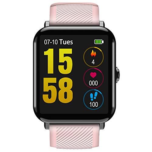 Kariwell HD Touch Screen Smart Watch - IP67 Waterproof/Blood Pressure Heart Rate Monitoring/Health Fitness Tracker Step, Calories, Distance, Sleep Monitor Kari-115 (Pink)