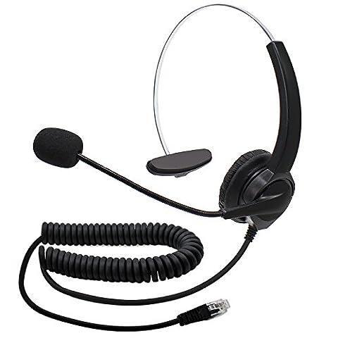 abcGOODefg Handsfree Call Center Headset Single-Ear Corded Noise Cancelling Headphone (4 Pin RJ9 Monaural Headset)
