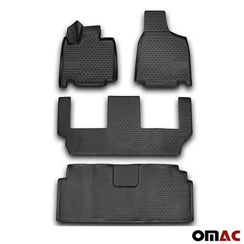 OMAC USA Complete Set Custom Fit All-Weather 3D Molded Black Rubber Floor Mat for Dodge Grand Caravan 2008-2019