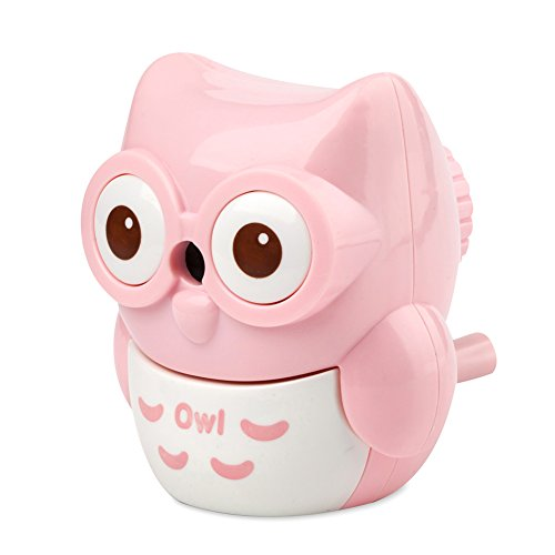 StudentsZone Kids Hand held Manual Pencil Sharpener with Cover for Colored Pencils (Owl-Pink) -