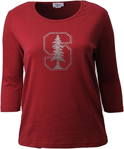 Nitro USA NCAA Stanford Cardinal Women's Collegiate Missy Fit Crew Neck Top, Size 1X, Dark Red