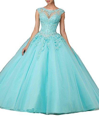 (CharmingBridal Cap Sleeve Basque Tulle Prom Ball Gown Quinceanera Dresses)
