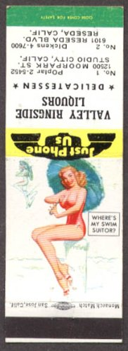 Where's My Swim Suitor? Pin-up matchcover Valley Ringside Liquors Reseda CA