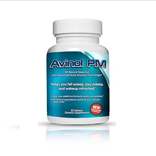 Best Natural Sleep Aid: Avinol PM | Herbal Formula for Better Sleeping | For a Deep Restful Night's Rest | Treatment for Jet Lag Insomnia Symptoms & Restlessness - with Melatonin Lemon Balm Passion Flower 5-HTP L-Theanine Chamomile