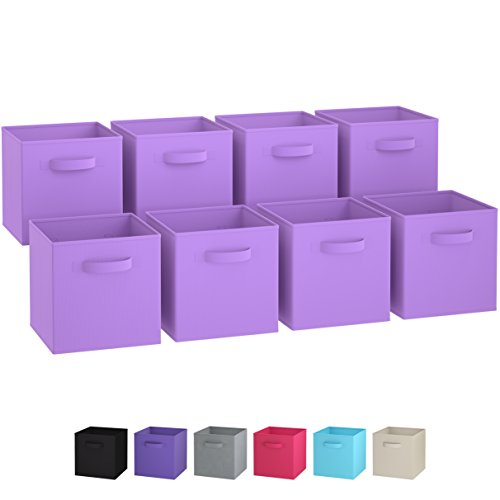 Chest Storage Pop Up (Royexe - Storage Cubes | [Set of 8] Foldable Fabric Bins | Features Dual Handles | Collapsible Organizer Storage Baskets| Folding Closet Drawer Cube. (Purple))