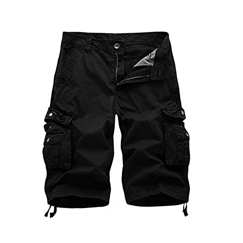 LANGY LIST-Mens Casual Loose Fit Cargo Shorts Straight Multi-Pocket Cotton Outdoor Wear-Black-34 Cotton Cargo Pocket Shorts