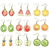 Creative Assorted Multiple Trendy Fruits Dangle Earrings for Women's