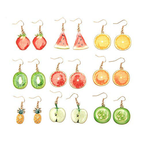 Creative Assorted Multiple Trendy Fruits Dangle Earrings for Womens Girls