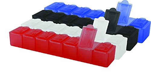 7 Day Pill Dispenser - 7 Day Pill Box [Pill Organizer] | Special 4 Pc Pack - Black, Blue, Frost & Red