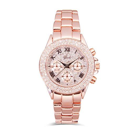 Yaki Neu Rosegold Uhr Luxusuhren Damen Armbanduhr Strass Charms Quarzuhr Metallarmband