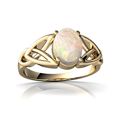 (14kt Yellow Gold Opal 8x6mm Oval Celtic Trinity Knot Ring - Size 9)