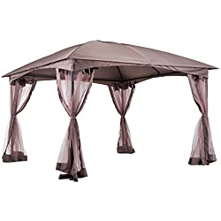 Outsunny 11.5' x 11.5' Outdoor Soft Top Steel Garden Gazebo with Removable Mesh Side Curtains - Brown