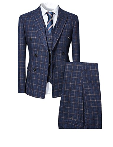 Mens Blue Slim Fit 3 Piece Checked Suits Double Breasted Vintage Fashion Navy - Piece 3 Fashion